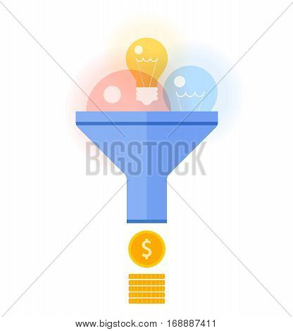 Funnel flow converts bulbs to money concept. Flat illustration of transform ideas inspiration and innovations to income. Vector design elements for business presentations web social networks.