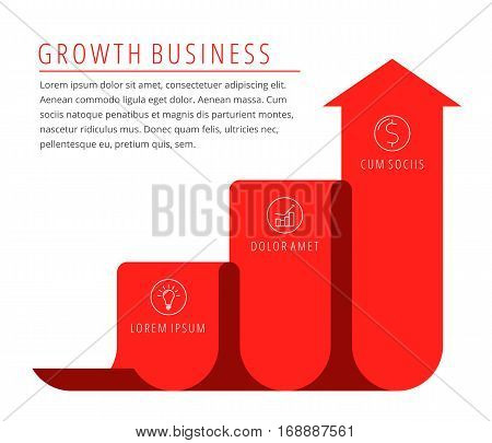 Steps of growth increase business concept. Red arrow depict improve business. Flat illustration of upward arrow. Vector template element for infographic web presentation publish social networks.