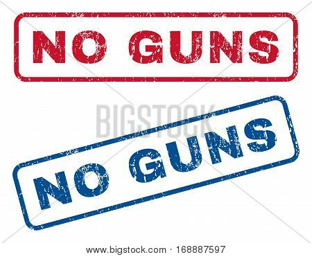 No Guns text rubber seal stamp watermarks. Vector style is blue and red ink tag inside rounded rectangular banner. Grunge design and dirty texture. Blue and red emblems.
