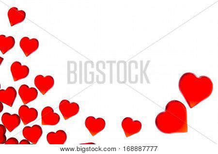 Bright red hearts on a striped background  and red hearts. In order to use Valentine's Day, weddings, International Women's Day
