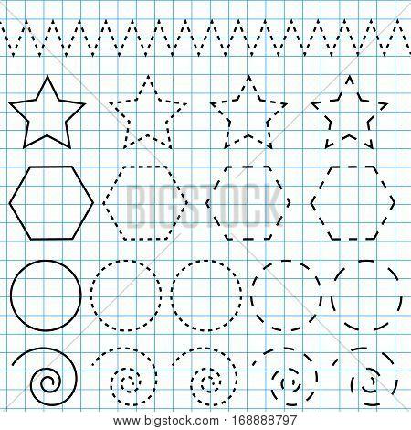 Handwriting practice sheet. Educational children game restore the dashed line. Writing training printable worksheet. Drawing shapes