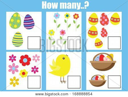 Counting educational children game kids activity worksheet. How many objects task easter theme. Learning mathematics numbers addition theme