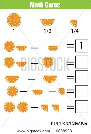 Mathematics educational game for children. Learning counting subtraction worksheet for kids. Fractions half quarters