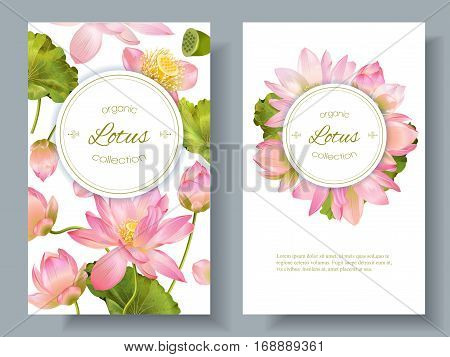 Vector botanical vertical banners with pink lotus flowers. Design for natural cosmetics, health care and ayurveda products, yoga center. Can be used as greeting card or wedding invitation