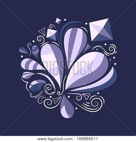 Vector abstract illustration. Floral concept. Decorative natural elements. Template for background, print, banner, logo, label tag fabric packaging Flat design