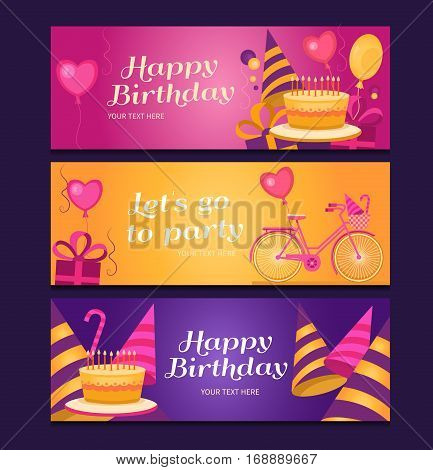 Happy birthday banners collection. Set of greeting templates. Invitation cards to the party. Vector cards with cake, balloons, candy, gifts, caps and bike. Poster let s go to party.