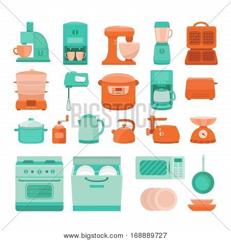 Set of vector elements kitchen appliances stove, microwave, dishwasher, coffee machine, blender, slow cooker, toaster, electric kettle, juicer, dish waffle iron scale pan and other