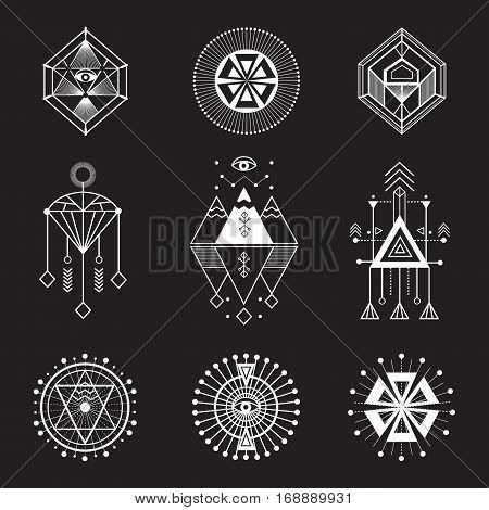 Vector set of sacred geometry. Geometric icons, shapes and logos. Collection of symbols ethnic, religion, alchemy, philosophy, spiritual, folk, Indian Hipster decorative elements Isolated signs