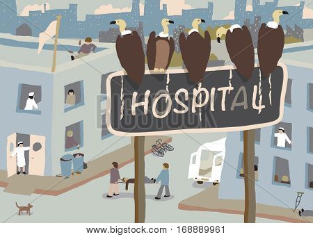 Illustration of a flock of vultures waiting beside a busy run-down hospital