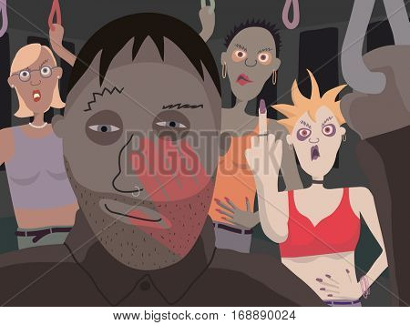 Vector illustration of women reacting angrily to a lewd man on public transport