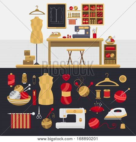 Collection of elements for knitting and sewing. Vector illustration of atelier. Set of objects knitted ball, sewing machine, mannequin, thread, iron, button, needles, hanger Handmade theme