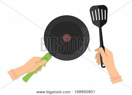 Female hands with empty teflon cooking pan and black slotted spatula. Flat concept illustration of restaurant and household food fry roast tools. Vector kitchen elements for web cook infographic.