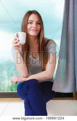 Beautiful Woman Drinking Morning Coffee.