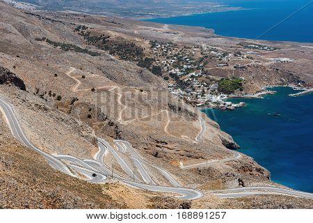 Serpantine road to Aradena gorge near Sfakia town on Crete island, Greece