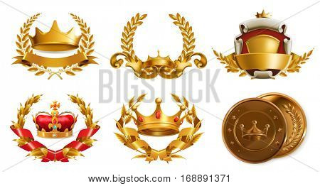 Gold crown and laurel wreath, 3d vector logo