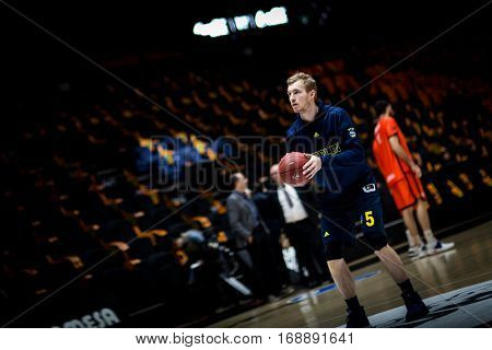VALENCIA, SPAIN - JANUARY 11: Niels Giffey during Eurocup match between Valencia Basket and Alba Berlin at Fonteta Stadium on January 11, 2017 in Valencia, Spain