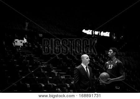 VALENCIA, SPAIN - JANUARY 11: (R) Malcolm Miller during Eurocup match between Valencia Basket and Alba Berlin at Fonteta Stadium on January 11, 2017 in Valencia, Spain