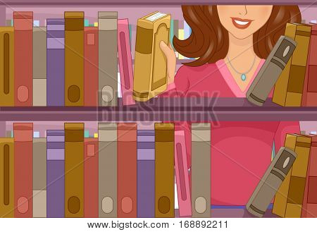 Illustration of a Female Student Picking a Book from a Bookshelf in the School Library
