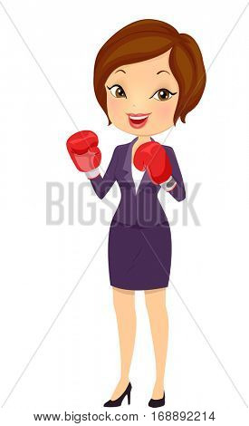 Illustration of a Beautiful Young Woman in Corporate Attire Wearing a Pair of Boxing Gloves Accepting a Business Challenge