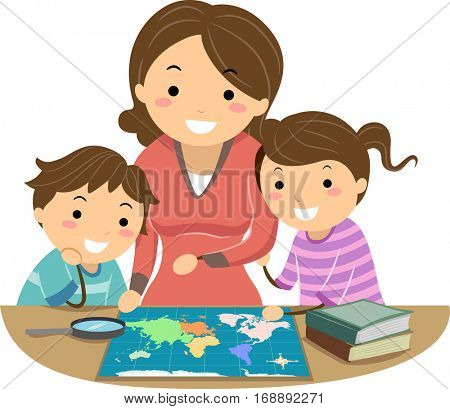 Stickman Illustration of a Mother Teaching Her Daughter and Son How to Use a Map