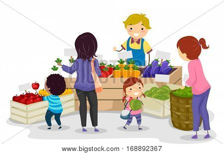 Stickman Illustration of a Mother and Her Kids Shopping at a Farmers Market