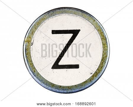 Vintage typewriter letter Z isolated on white