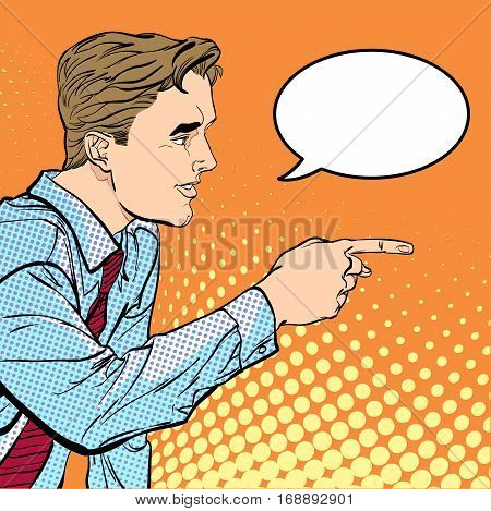 A man pointing a finger. A man explaining something. Speaking man. The man at the podium speaks. Handsome young businessman giving advice. Concept idea of advertisement and promo. Halftone background.