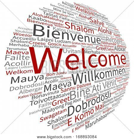 Vector concept or conceptual abstract welcome or greeting international word cloud in different languages multilingual isolated  metaphor to world, foreign, worldwide, travel, translate, vacation