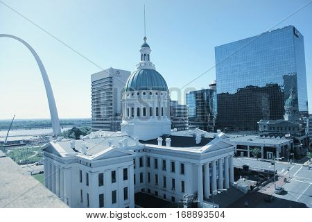 Saint Louis, MO, USA - April 29, 2016: Gate way arch is tallest arch in the world in Saint Louis, Missouri.