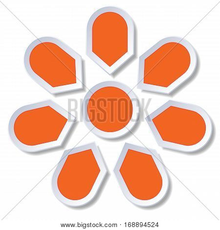 Chart cyclic process Infographic orange Points arranged in circle for diagram with 7 steps on white background