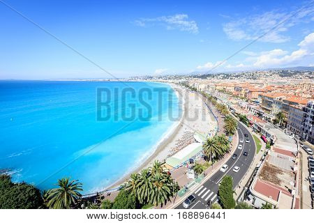 High angle view of Nice city beach. Cote d'Azur, France.