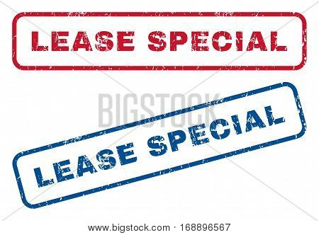 Lease Special text rubber seal stamp watermarks. Vector style is blue and red ink tag inside rounded rectangular shape. Grunge design and dirty texture. Blue and red signs.