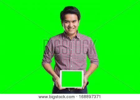 Young Asian Handsome Businessman Showing Digital Tablet