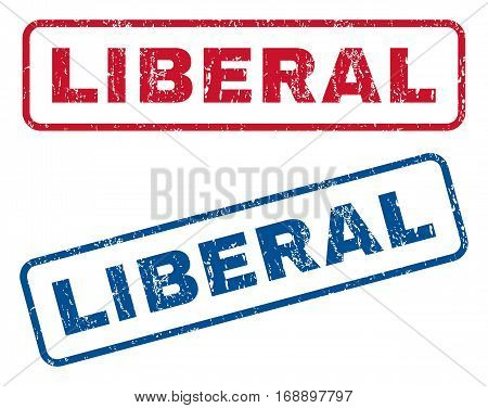 Liberal text rubber seal stamp watermarks. Vector style is blue and red ink tag inside rounded rectangular banner. Grunge design and unclean texture. Blue and red stickers.