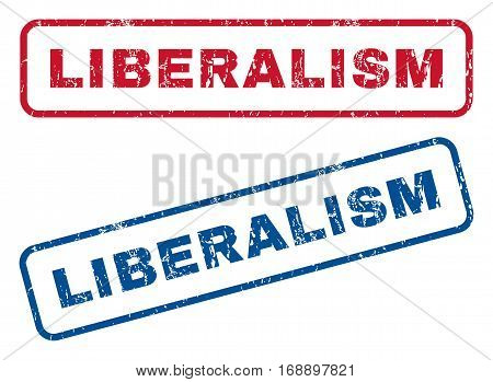 Liberalism text rubber seal stamp watermarks. Vector style is blue and red ink tag inside rounded rectangular banner. Grunge design and dirty texture. Blue and red stickers.