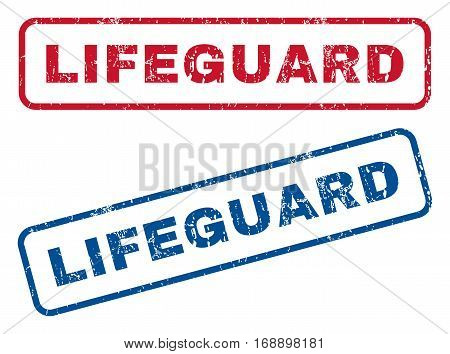 Lifeguard text rubber seal stamp watermarks. Vector style is blue and red ink caption inside rounded rectangular shape. Grunge design and unclean texture. Blue and red emblems.