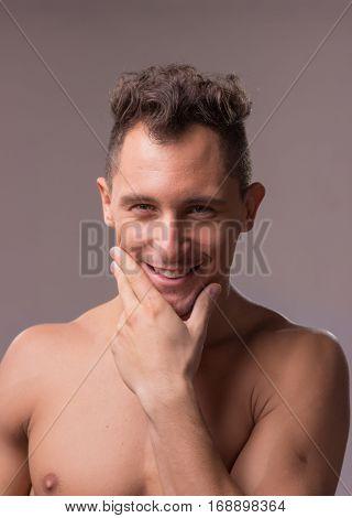 Smiling Happy Young Man Model Closeup Head Face Hand