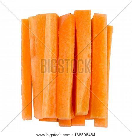 Fresh carrot slice isolated on white background