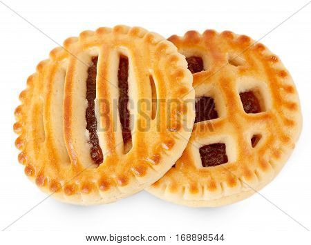 Lenten cookies with apricot jam on white background