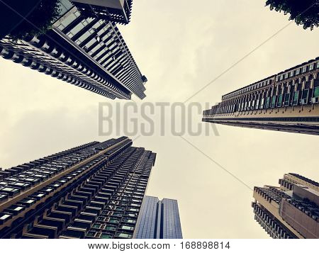 Business Skyscapers Buildings Bottom Up Shot