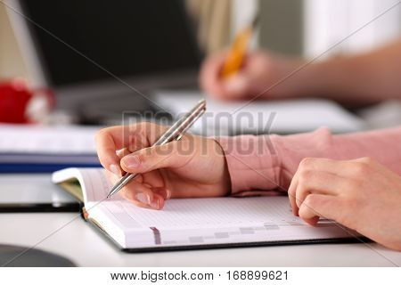 Female Hand Holding Silver Pen Closeup