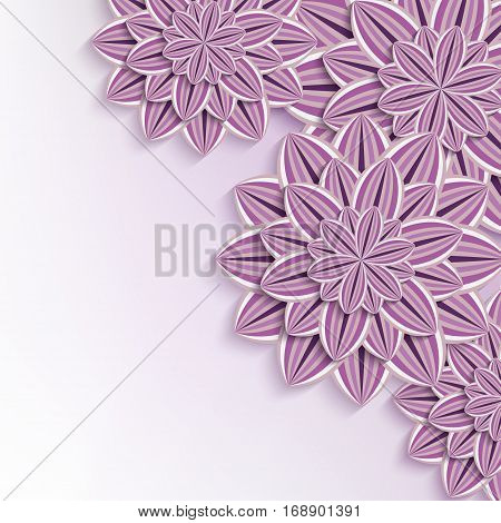 Floral elegant background with purple violet ornate 3d flowers dahlia cutting paper. Beautiful trendy creative wallpaper. Stylish greeting or invitation card for wedding birthday and life events. Vector illustration