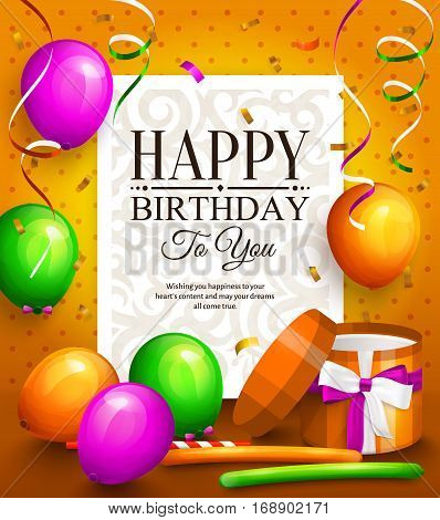 Happy birthday greeting card. Party multicolored balloons, colorful streamers, wrapped gift box and stylish lettering on dotted background.