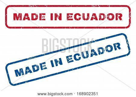 Made In Ecuador text rubber seal stamp watermarks. Vector style is blue and red ink caption inside rounded rectangular shape. Grunge design and unclean texture. Blue and red signs.