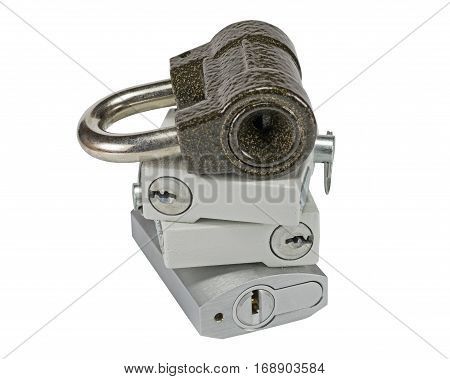 New close metal padlocks with keys isolated on white background