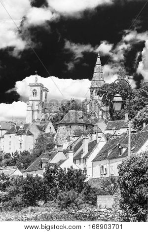 Picturesque medieval town of Semur en Auxois Burgundy France. Black and white foto.