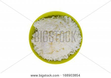 Jasmine Rice In Bowl Isolated, Cooked Rice On White Background