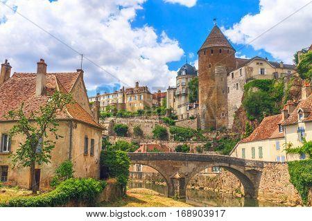 Picturesque medieval town of Semur en Auxois Burgundy France
