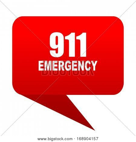 number emergency 911 bubble red icon