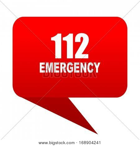 number emergency 112 bubble red icon